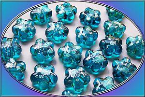 10 Perlen schöne fancy Acryl Blume türkis 16 mm