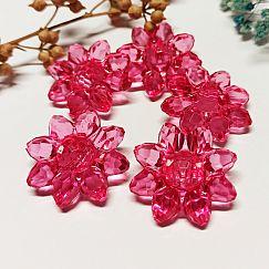 4 grosse Kunststoffperlen Blumen rosa 30 mm Kinderperlen