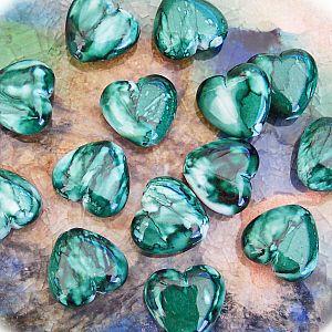 Perlenset Acrylperlen smaragdgrün 10 Herzperlen 20 mm