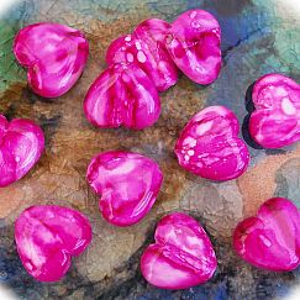 Acrylperlen marmoriert 10 Herzperlen pink 20 mm Kinderperlen