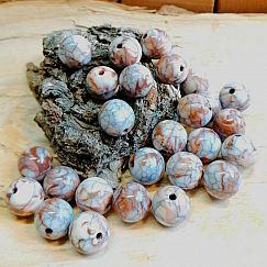 10 große Perlen braun marmoriert Kugelform 11,5 mm