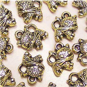 10 Anhänger Katzen in antik gold Kinderperlen