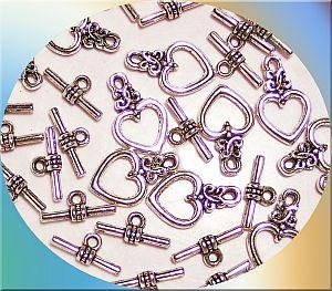 5 Sets Herz Knebelverschlüsse 18 mm silber antik
