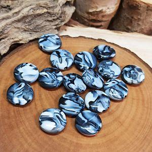 10 fancy Perlen schwarz weiss marmoriert 13,5 mm