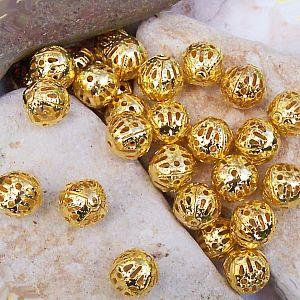 20 filigrane Metallperlen Metallspacer 8 mm gold