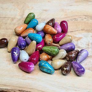 15 Tropfen Perlen bunt marmoriert mit Gold 13 x 8 mm
