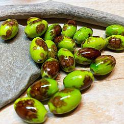 15 Perlen Oliven grün-braunmarmoriert 13 mm