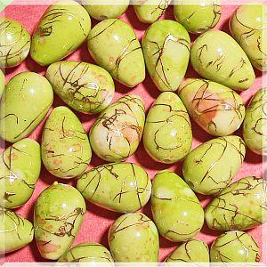 10 Tropfen Perlen grünmarmoriert mit Gold 16 mm