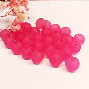 20 Acrylperlen kugeln gefrostet rosa 10 mm Kinderperlen