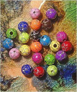20 schöne Strasseffekt Blumen Perlen 10 mm Kinderperlen bunt