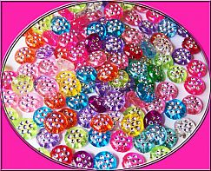 30 schöne Strasseffekt Perlen 10 mm Linse Kinderperlen bunt