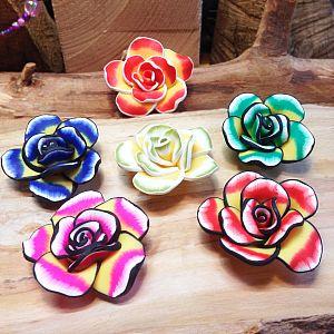 5 große polymer clay Blumen Perlen 45 mm Brosche/Anhänger