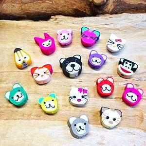 10 Tiere polymer clay Kinder Perlen 15 mm