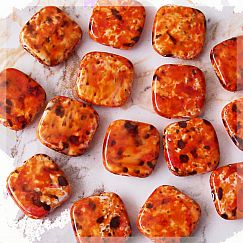 20 große flache Perlen orange marmoriert Quadrat