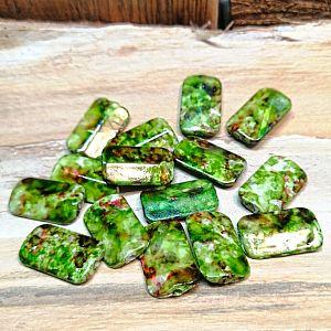 10 Acryl Perlen grün marmoriert 17 mm Rechteck