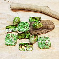 10 Acryl Perlen grün marmoriert Mix