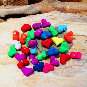 20 Herzperlen Neonfarben Perlenmischung 15 x 8 mm