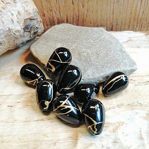 15 schöne schwarze Tropfenperlen 15 mm mit Goldfäden