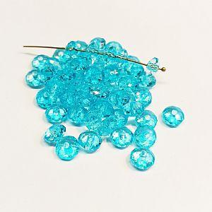 Perlenset 30 Kinderperlen Rondelle faceted türkis 8 x 6 mm
