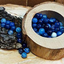 10 Edelsteinperlen Agate beads rund poliert marmor blau 6 mm