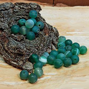 10 Edelsteinperlen Agate beads rund gefrostet marmor grün 6 mm