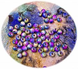 Perlenset 20 schöne Stardust Perlen Spacer lila 8 mm