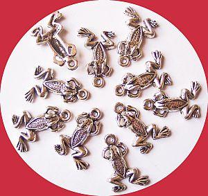 4 Metallanhänger Frösche 21 mm silber antik
