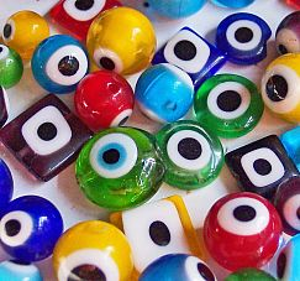 Perlenset mit 20 Glasperlen Augenperlen II. Wahl ca. 6 - 12 mm