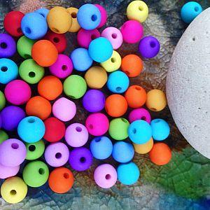 15 Silikonperlen bunte Mischung 10 mm matt opak