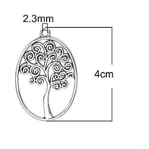 2 Kettenanhänger Baum Metall silber antik 40 mm
