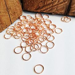 50 Metall Binderinge rose goldfarbig 7 mm