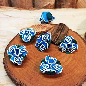3 große Blumen Perlen Polymer Clay 23 mm blau
