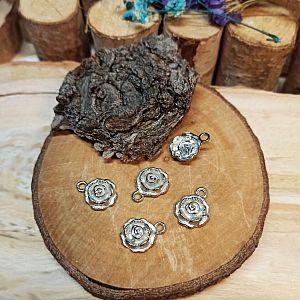 2 Charms Kettenanhänger Blume Metall silber 17 mm