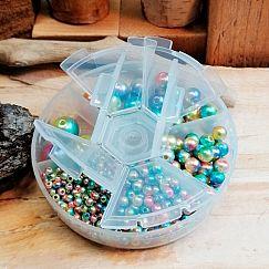 Box mit 560 Perlen Acrylkugeln blau bunter Farbverlauf 4 - 12 mm