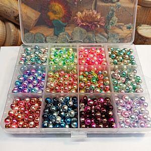 Box mit 960 Perlen Acrylkugeln 12 Farben bunter Farbverlauf 6 mm