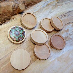 2 Carbochonfassungen aus Natur Holz Holzanhänger 25 mm