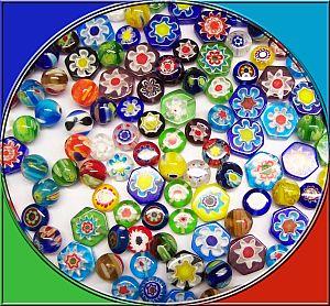 Glasperlen Set 40 bunte Chevronglasperlen 8 - 10 mm