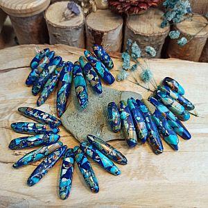 1 Collier Set gefärbte Halbedelsteine Malachite blau türkis meliert