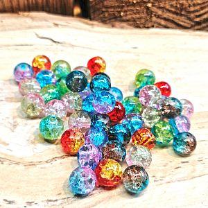 40 Glascrackleperlen 8 mm mit Farbverlauf bunter Mix
