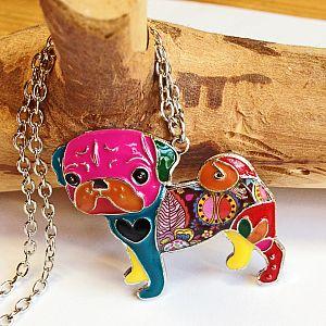 Designer Halskette mit Mopsanhänger buntes Emaille