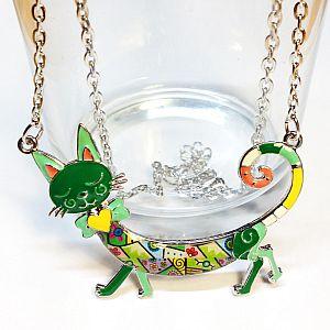 Halskette mit Katzenanhänger buntes Emaille