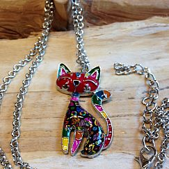 Designer Halskette mit Katze rot buntes Emaille