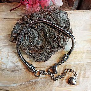 1 Edelstahl Modularmband Schlangenkette silber antik 18 + cm 3 mm dick