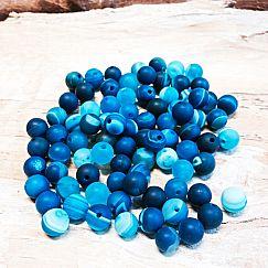 10 Edelsteinperlen Agate beads rund gefrostet marmor blau 6 mm