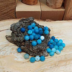 10 Edelsteinperlen Agate beads rund gefrostet marmor türkis 6 mm