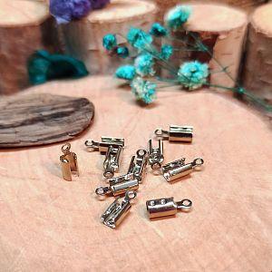6 Endkappen, Endhülsen für 4 mm Leder o. Perlband silber