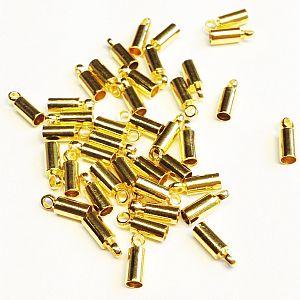 10 Endkappen, Endhülsen für 2 mm Leder o. Perlband goldfarben