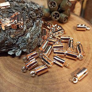 6 offene Endkappen, Endhülsen für 4 mm Leder o. Perlband roségoldfarben
