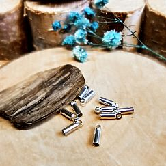 10 Endkappen, Endhülsen für 1,5 mm Lederband o. Perlfaden silber