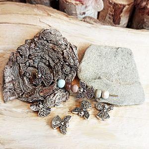 2 Metallperlen Spacer als Engel 14 mm silber antik